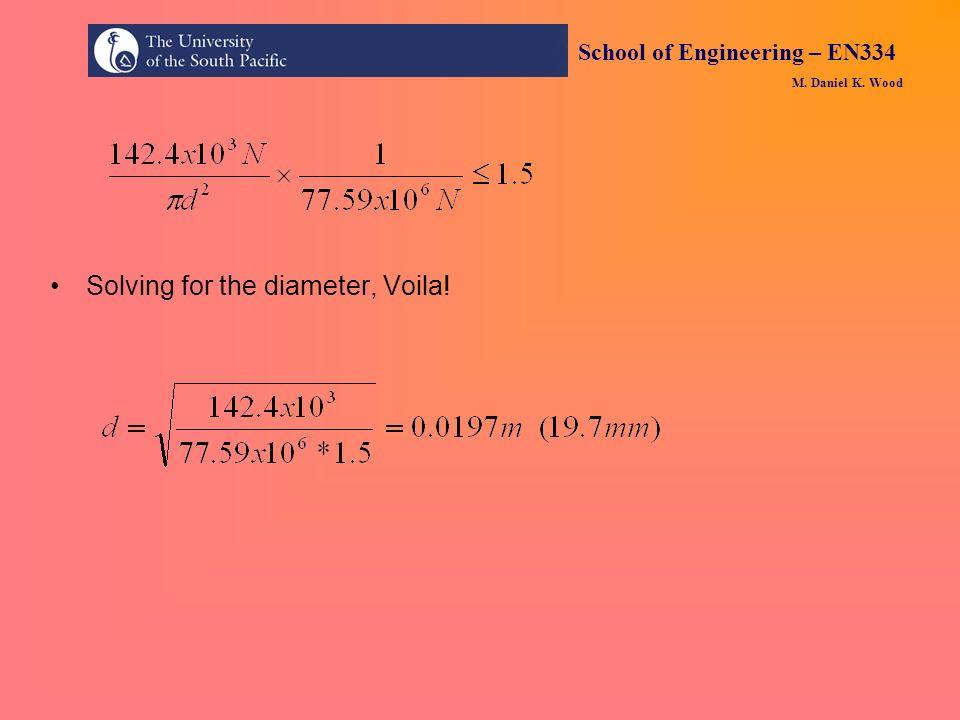 School of Engineering – EN334 M. Daniel K. Wood Solving for the diameter, Voila!