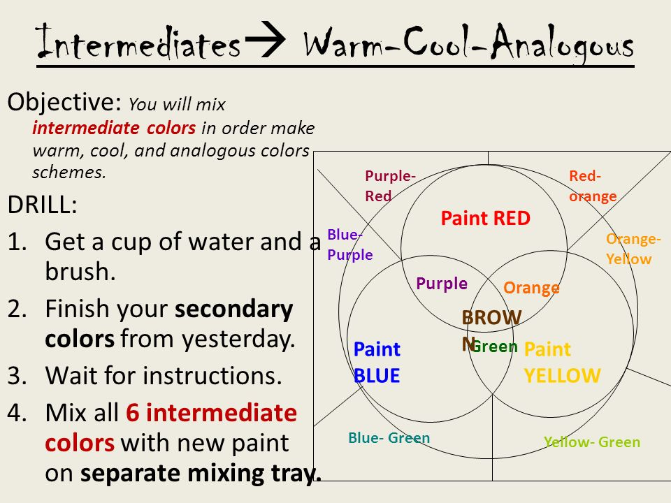 Intermediates Warm Cool Analogous Objective You Will Mix Intermediate Colors In Order