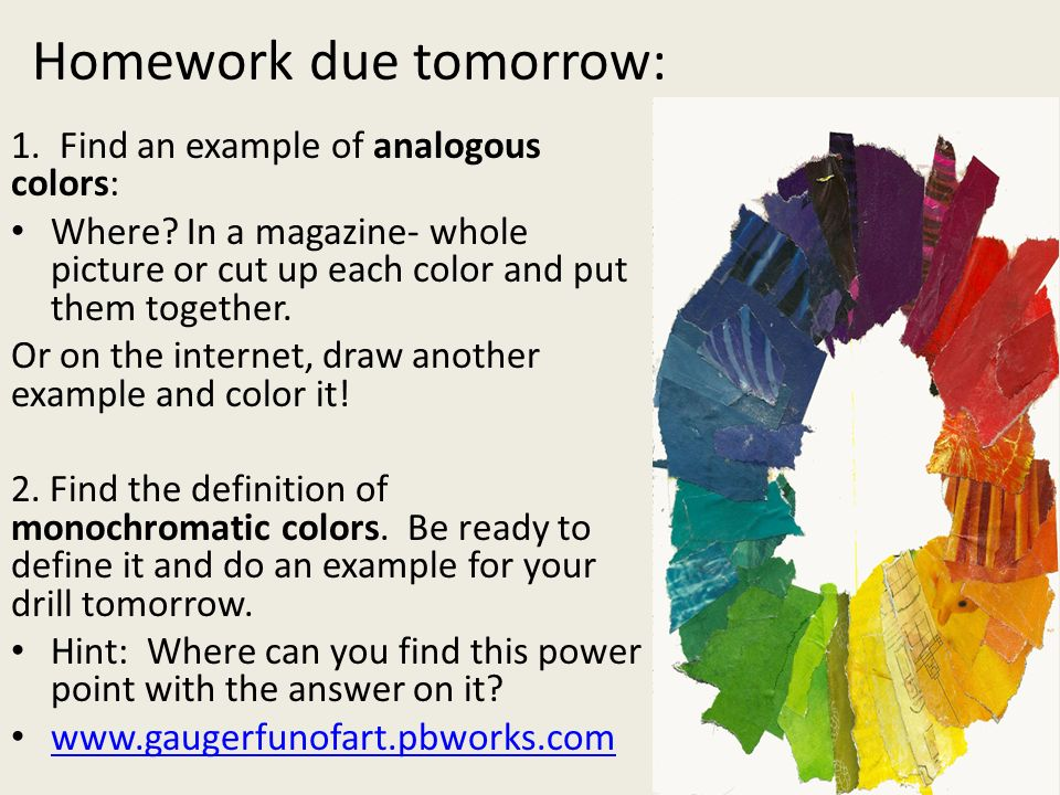 Find An Example Of Analogous Colors Where