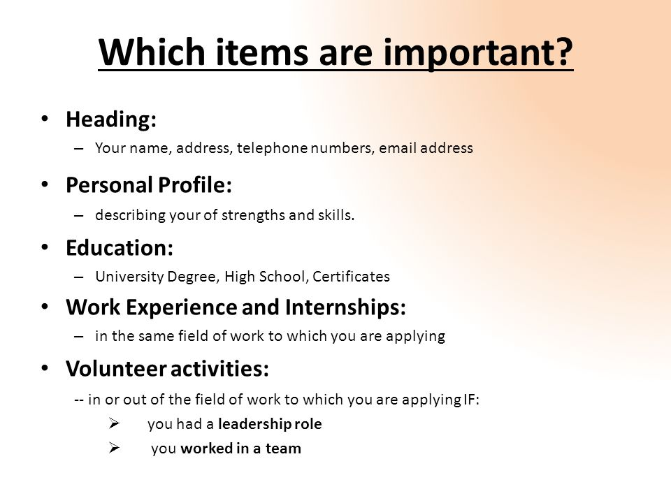 Which Items Are Important.  Is A Cv The Same As A Resume