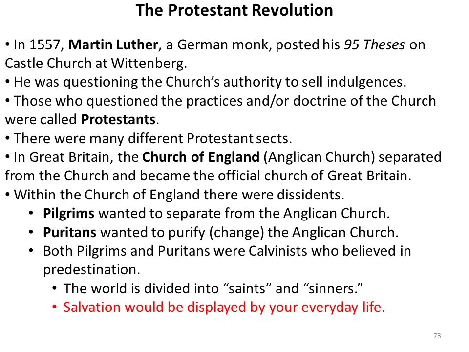 73 The Protestant Revolution In 1557, Martin Luther, a German monk, posted his 95 Theses on Castle Church at Wittenberg.