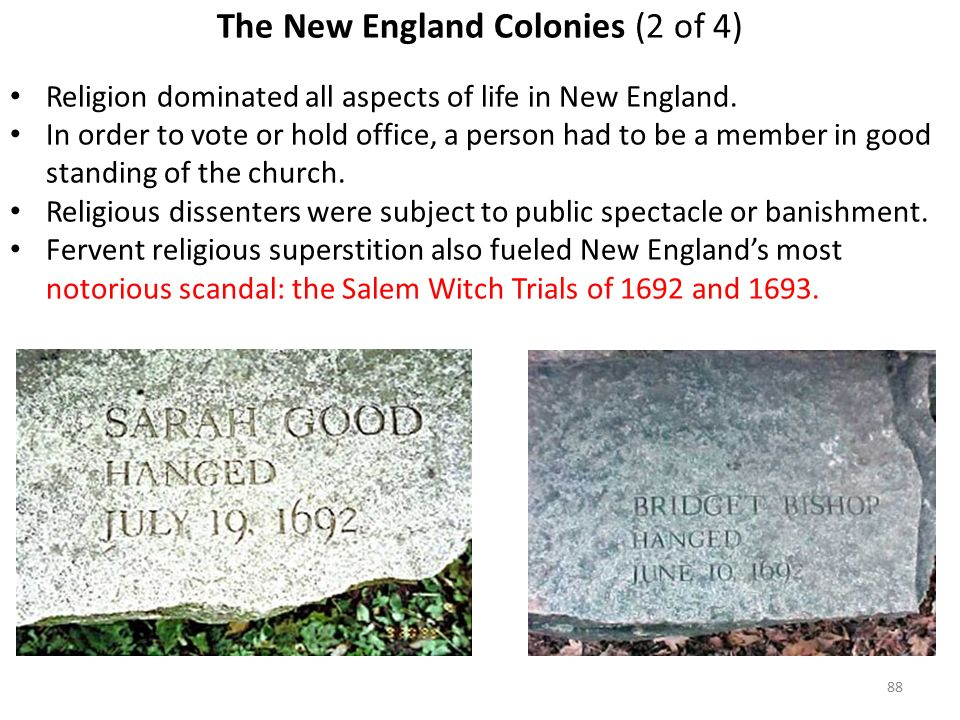 88 The New England Colonies (2 of 4) Religion dominated all aspects of life in New England.