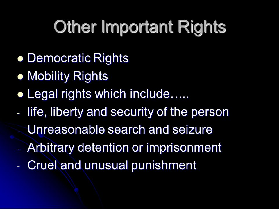Other Important Rights Democratic Rights Democratic Rights Mobility Rights Mobility Rights Legal rights which include…..