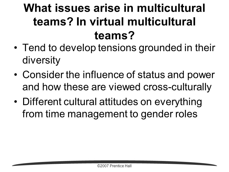 ©2007 Prentice Hall What issues arise in multicultural teams.