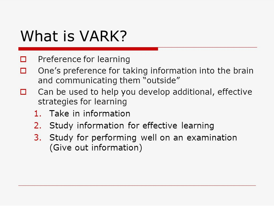 vark questionare Vark analysis james a hickok grand canyon university nrs429v-0504 shauna wise april 4, 2015 vark analysis it is commonly understood that everyone does not.