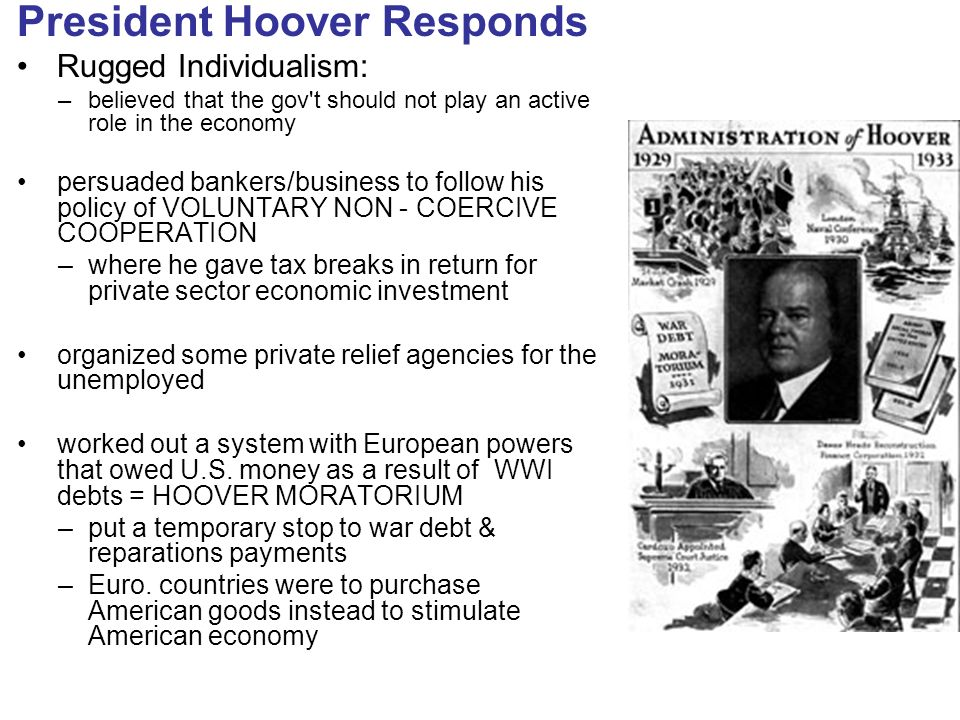 President Hoover Responds Rugged Individualism: U2013believed That The Gov T  Should Not Play An