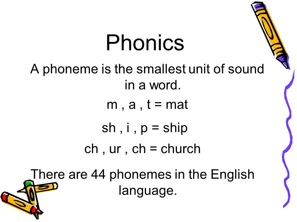 Phonics A phoneme is the smallest unit of sound in a word.