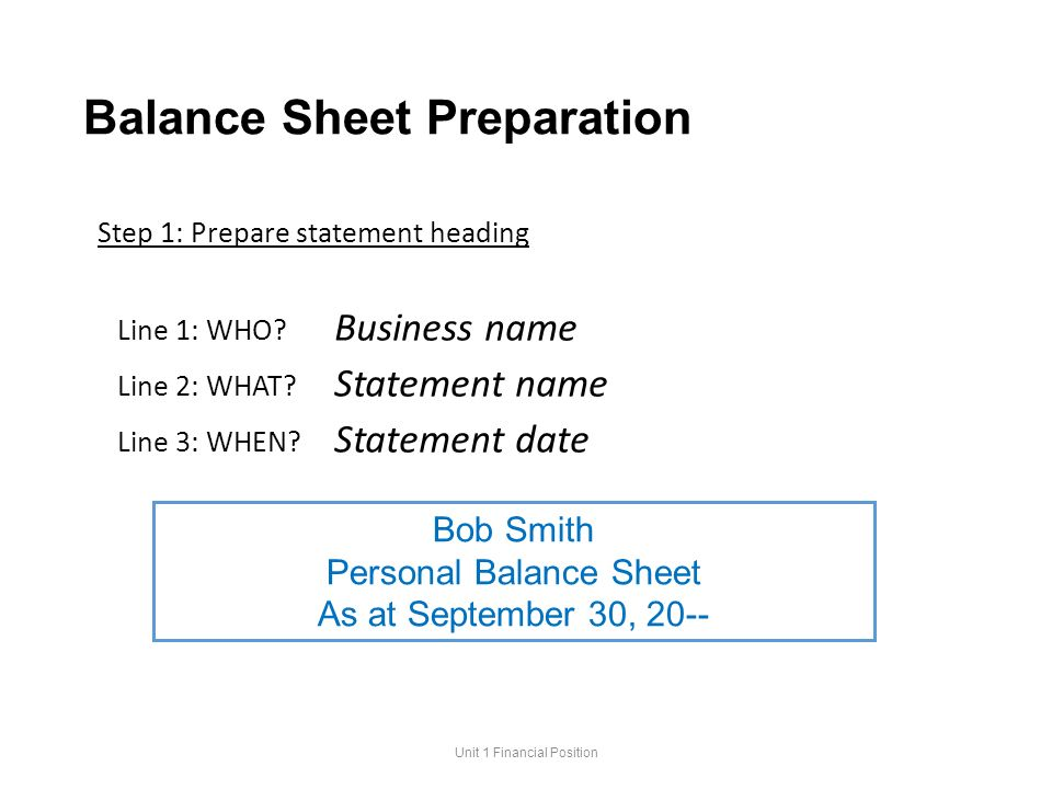 Accounting 11 Unit 1 Financial Position and the Balance Sheet – Prepare Balance Sheet