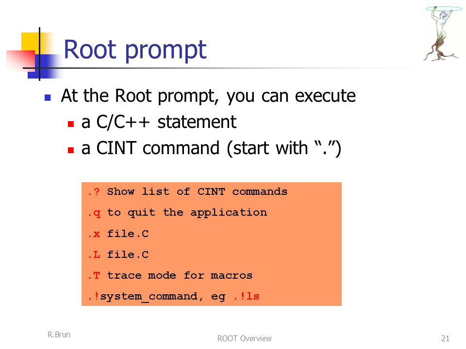 R.Brun ROOT Overview21 Root prompt At the Root prompt, you can execute a C/C++ statement a CINT command (start with . )..