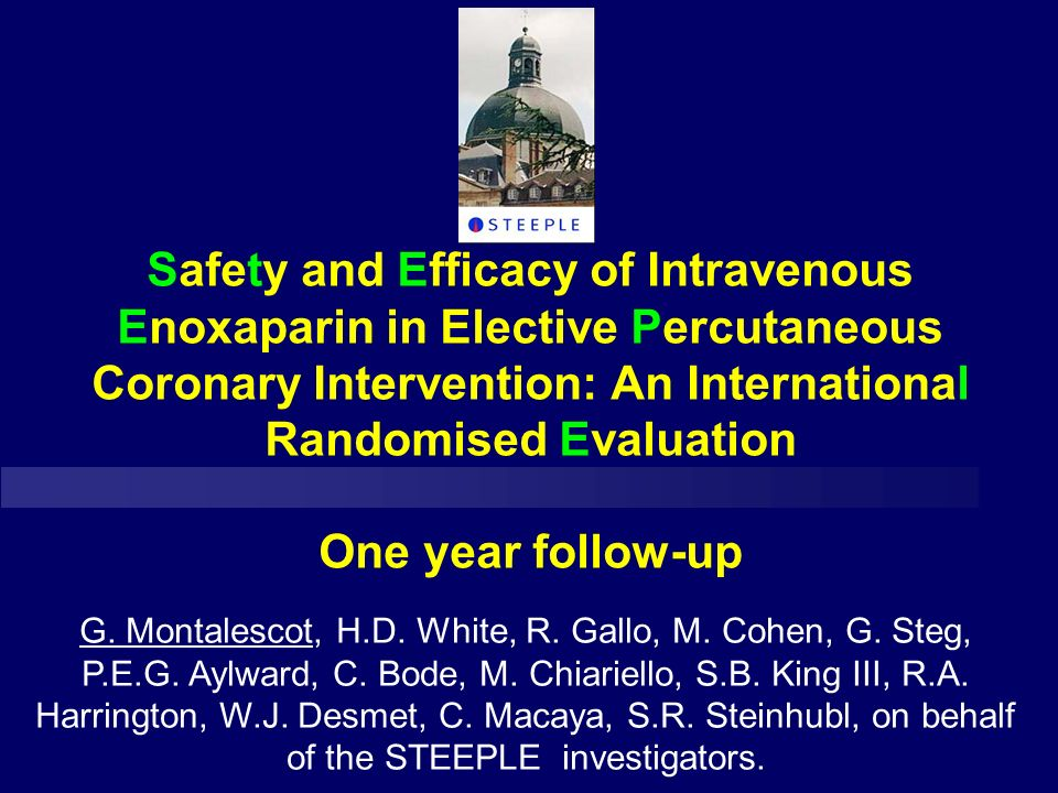 Safety and Efficacy of Intravenous Enoxaparin in Elective Percutaneous Coronary Intervention: An International Randomised Evaluation One year follow-up G.