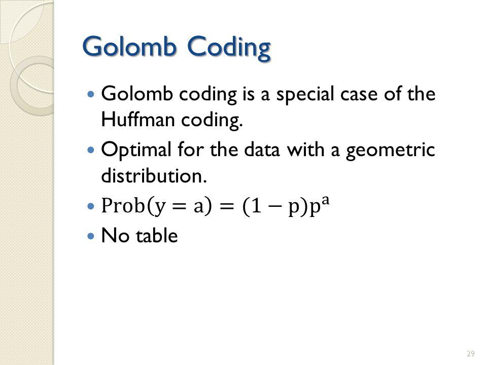 Golomb Coding 29