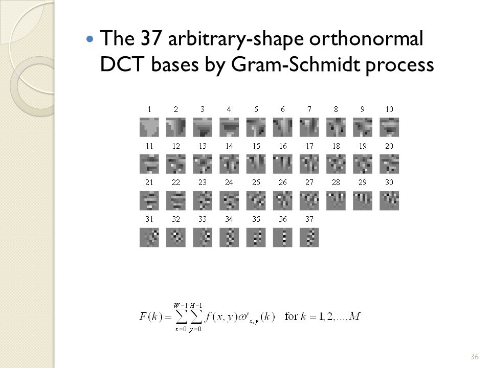 The 37 arbitrary-shape orthonormal DCT bases by Gram-Schmidt process 36