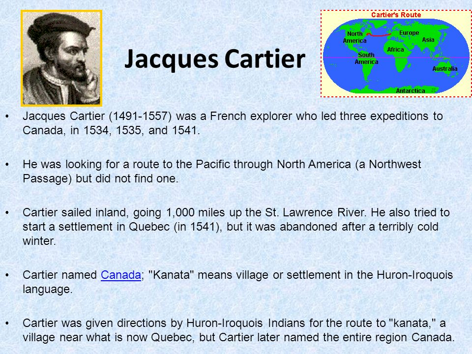 jacques cartier essay European settlement essay in 1534, jacques cartier discovered land he claimed  the area for france by putting a cross on the gaspe peninsula during the 16th century the main purpose for coming to canada.
