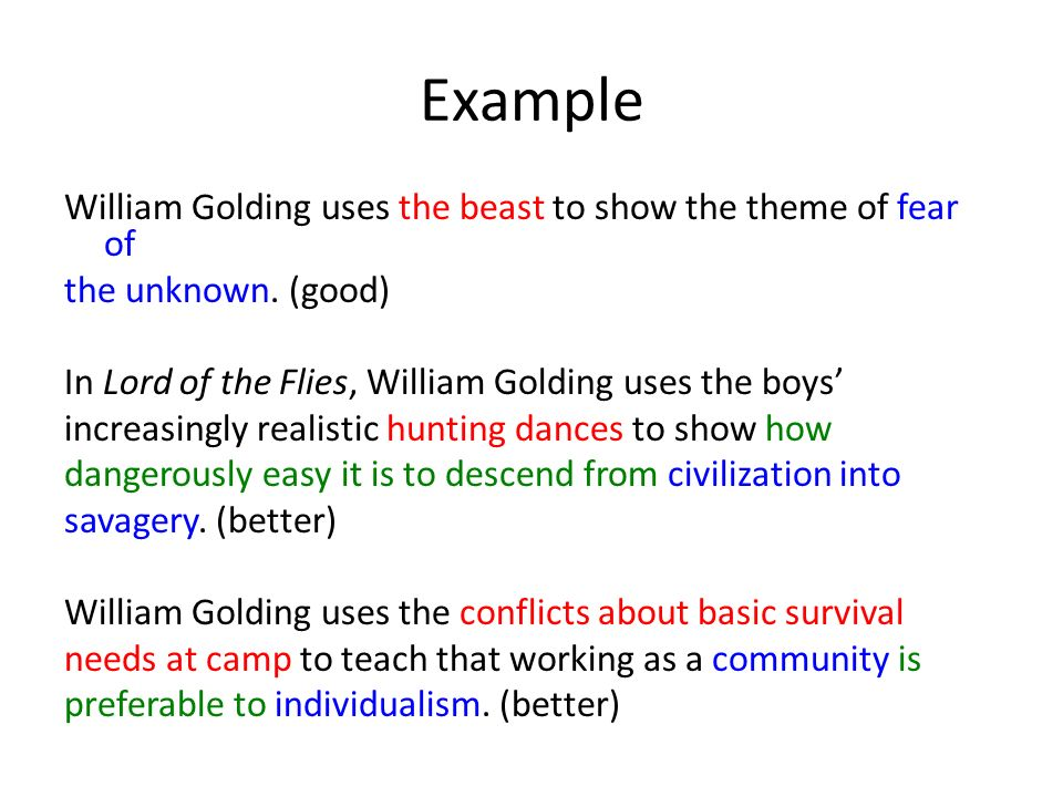 literary essays thesis development engu theme practice which of example william golding uses the beast to show the theme of fear of the unknown
