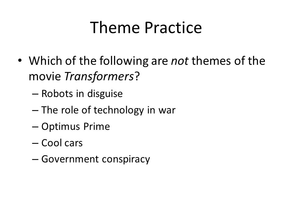 literary essays thesis development engu theme practice which of  theme practice which of the following are not themes of the movie transformers