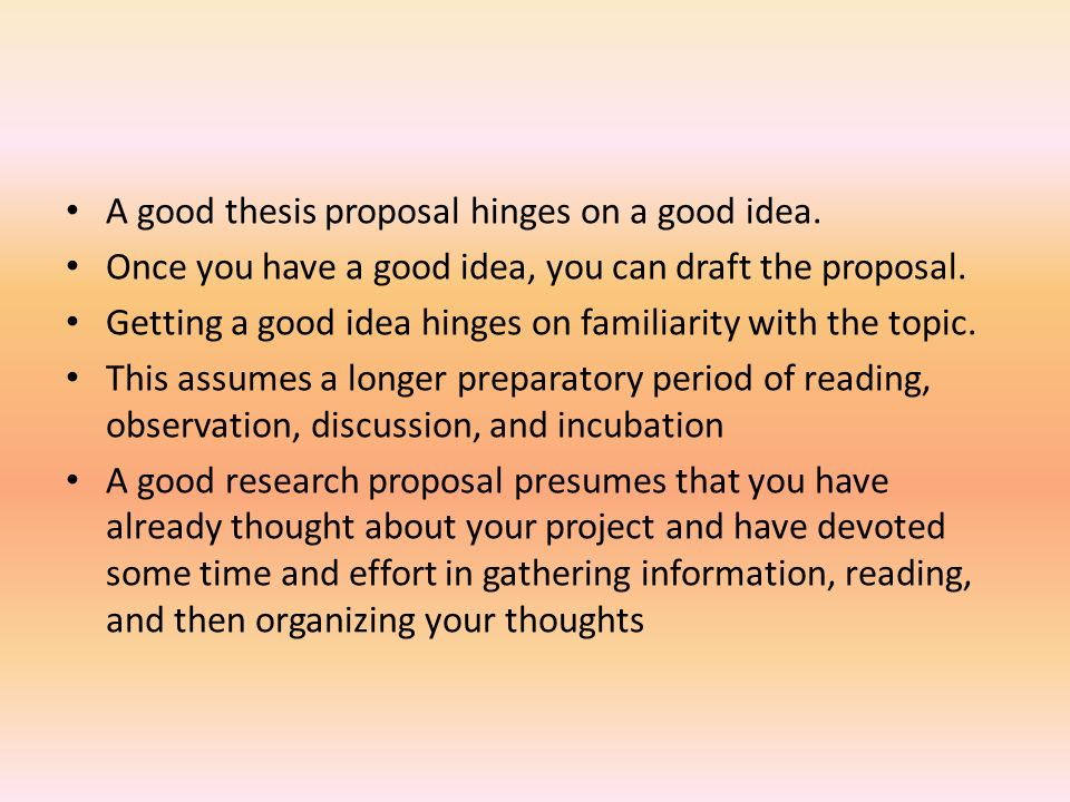 a proposal for a thesis