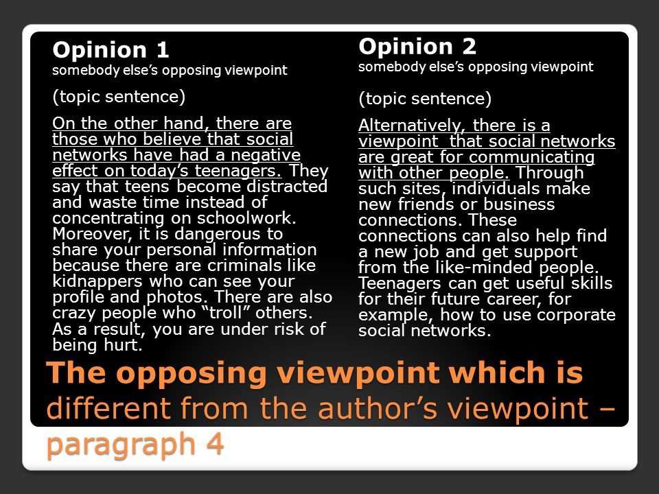 opposing opinions essays An opinion essay is an opportunity to express your feelings on an issue or topic you feel passionately about you can make your argument even stronger by substantiating your opinions with logical arguments and credible evidence.