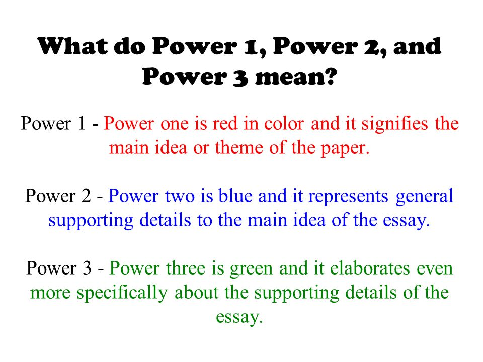 What does the main idea or main point mean in an essay?