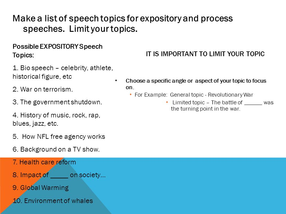 requirements for the expository speech select and limit an make a list of speech topics for expository and process speeches