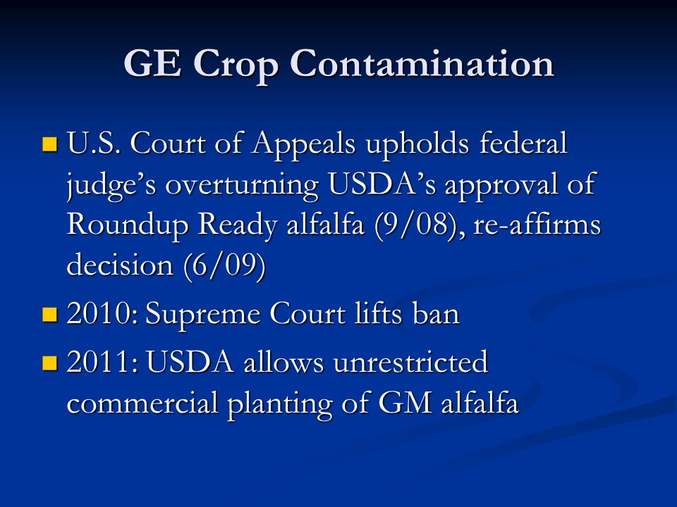 GE Crop Contamination U.S.