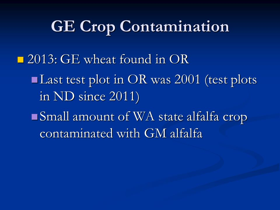 GE Crop Contamination 2013: GE wheat found in OR 2013: GE wheat found in OR Last test plot in OR was 2001 (test plots in ND since 2011) Last test plot in OR was 2001 (test plots in ND since 2011) Small amount of WA state alfalfa crop contaminated with GM alfalfa Small amount of WA state alfalfa crop contaminated with GM alfalfa