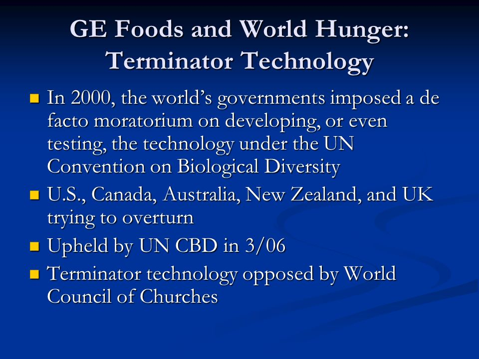 GE Foods and World Hunger: Terminator Technology In 2000, the world's governments imposed a de facto moratorium on developing, or even testing, the technology under the UN Convention on Biological Diversity In 2000, the world's governments imposed a de facto moratorium on developing, or even testing, the technology under the UN Convention on Biological Diversity U.S., Canada, Australia, New Zealand, and UK trying to overturn U.S., Canada, Australia, New Zealand, and UK trying to overturn Upheld by UN CBD in 3/06 Upheld by UN CBD in 3/06 Terminator technology opposed by World Council of Churches Terminator technology opposed by World Council of Churches