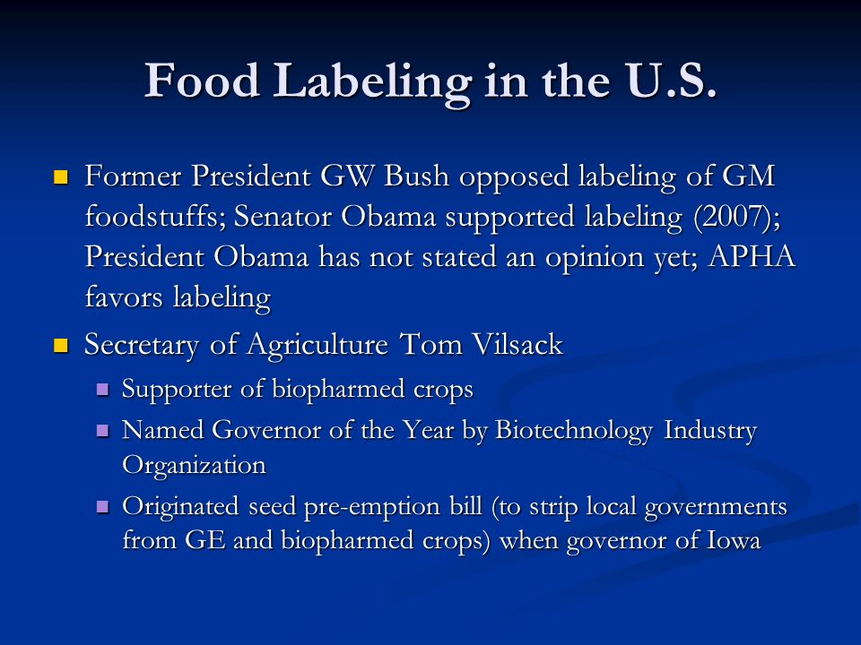 Food Labeling in the U.S.