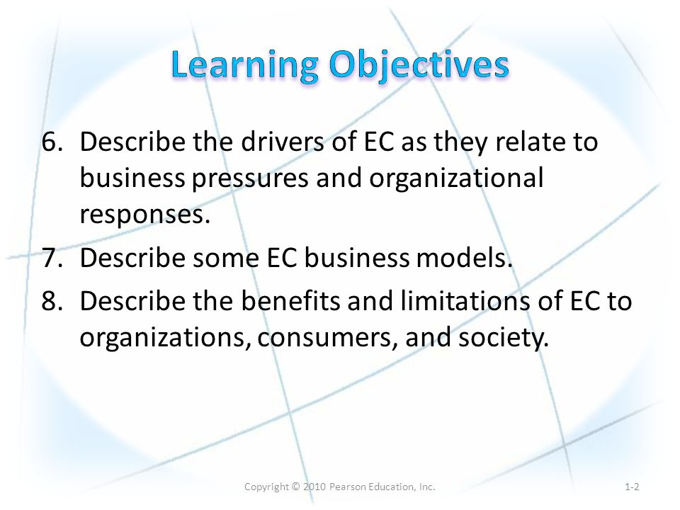 Copyright © 2010 Pearson Education, Inc. 6.Describe the drivers of EC as they relate to business pressures and organizational responses. 7.Describe so