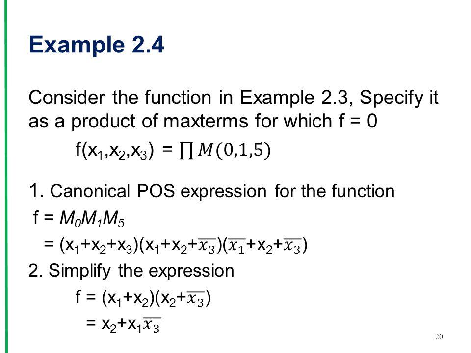 Example 2.4 20