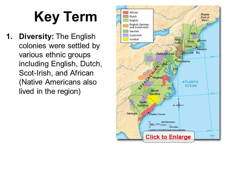 ethnic groups in the thirteen colonies The first thirteen british colonies in america became the united states see a chart of the 13 colonies and get information on their histories.