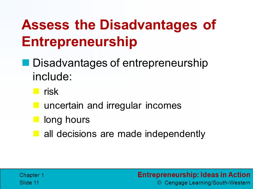11 entrepreneurship - Being Your Own Boss Advantages And Disadvantages