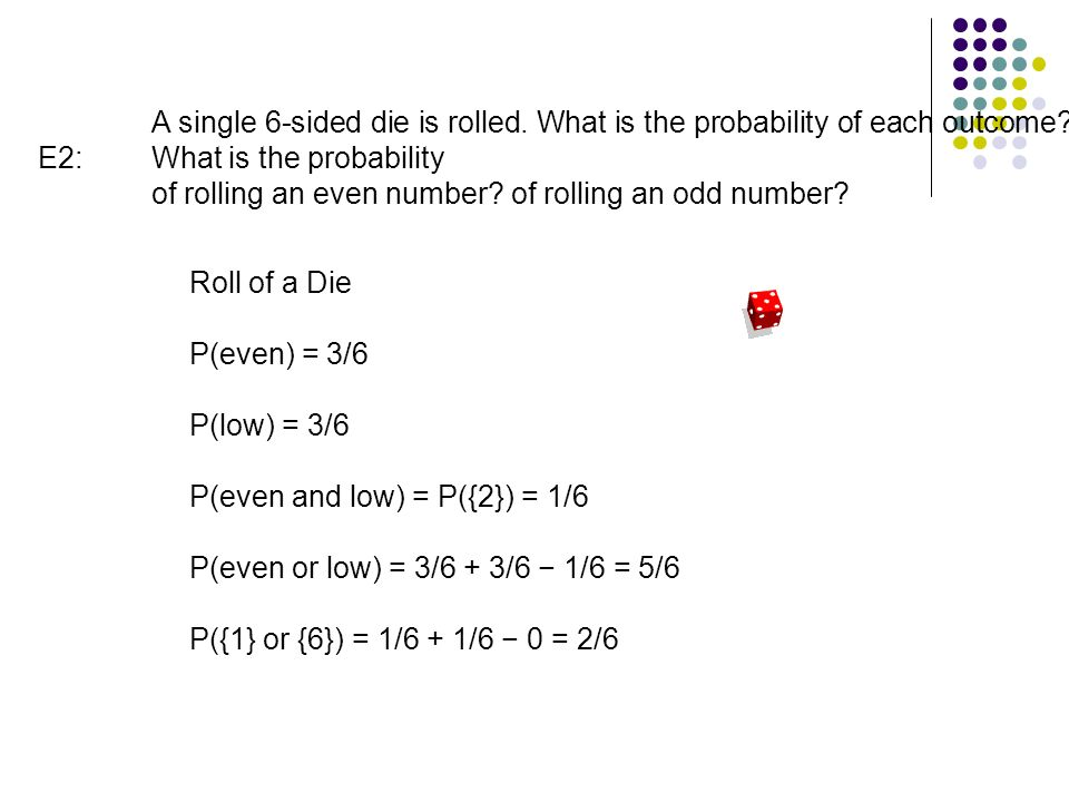 E2: A single 6-sided die is rolled. What is the probability of each outcome.
