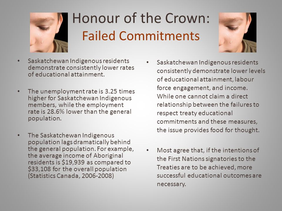 Honour of the Crown: Failed Commitments Saskatchewan Indigenous residents demonstrate consistently lower rates of educational attainment.