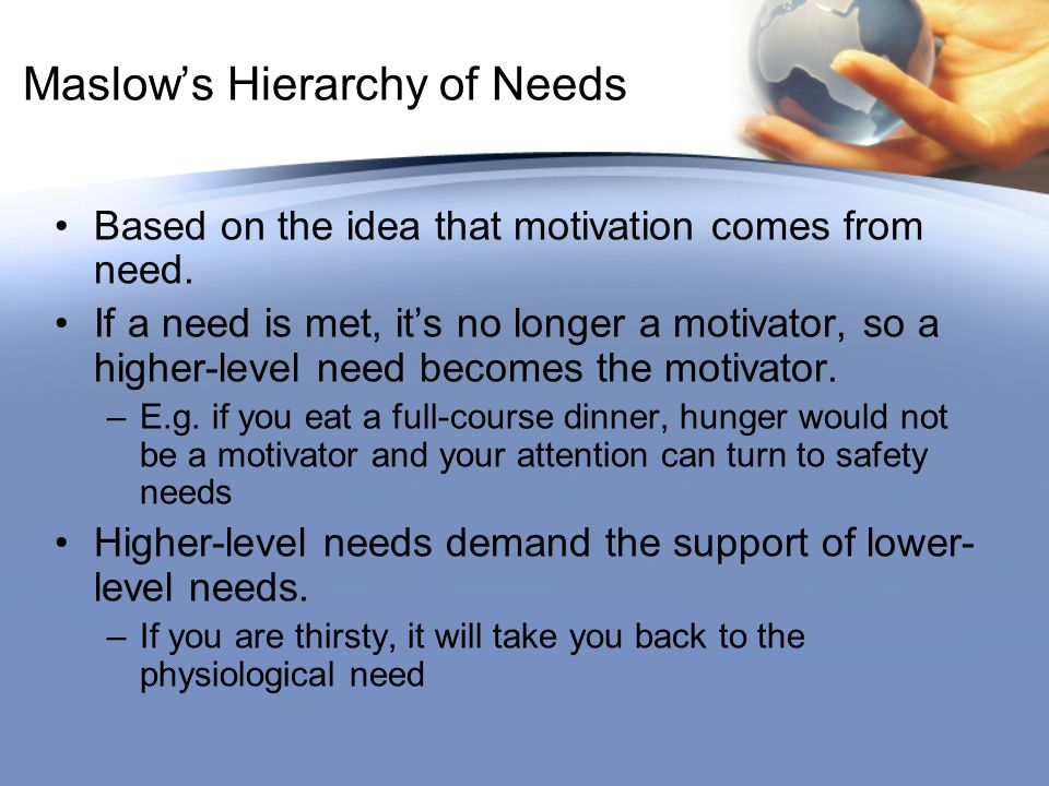 Maslow's Hierarchy of Needs Based on the idea that motivation comes from need.