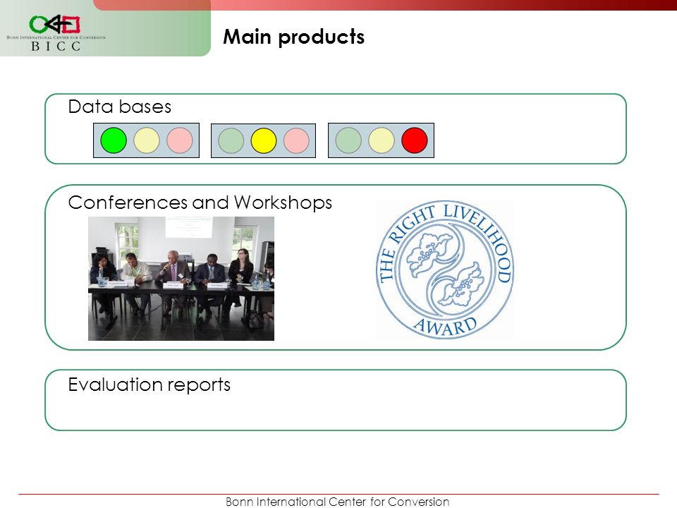 Bonn International Center for Conversion Data bases Conferences and Workshops Evaluation reports Main products