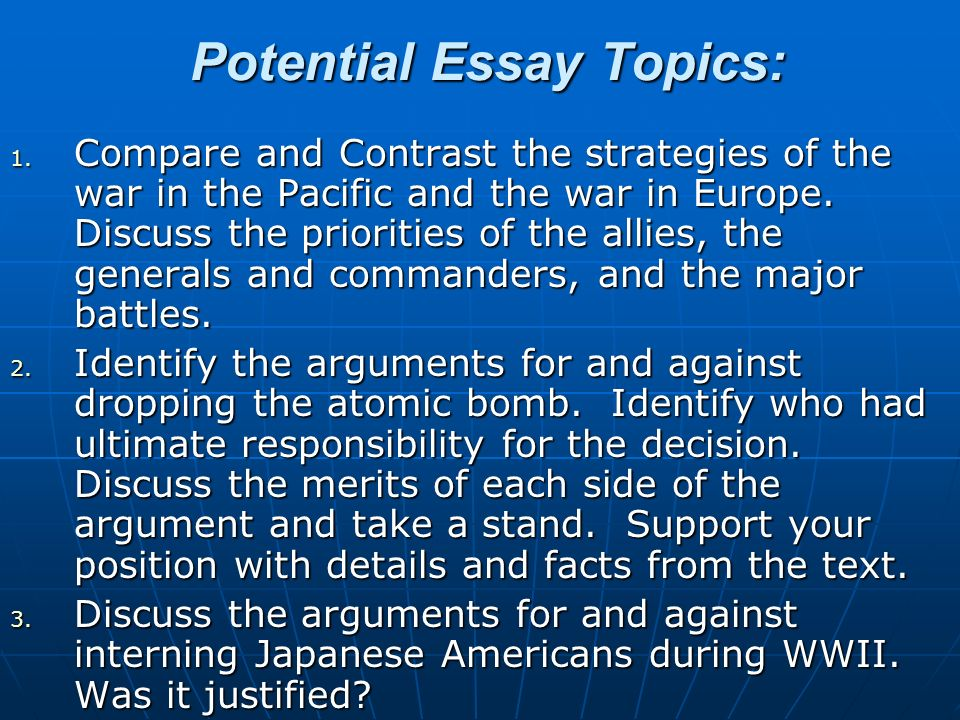 potential essay topics compare and contrast the strategies of  potential essay topics 1