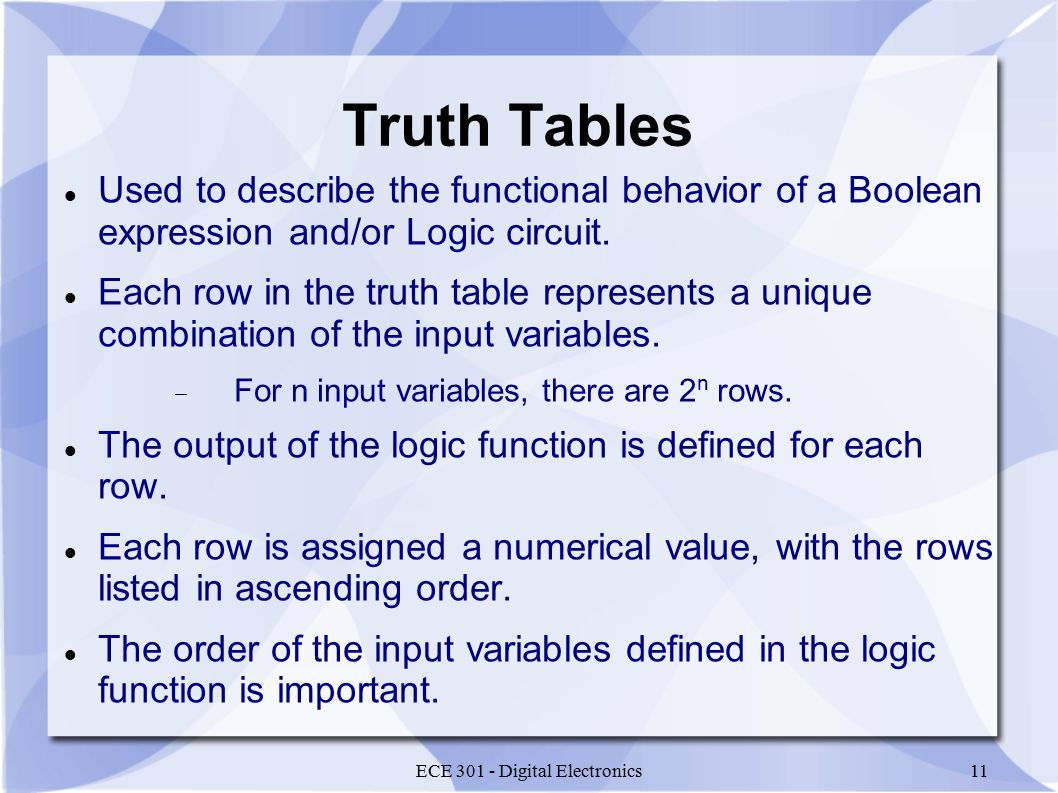 ECE 301 - Digital Electronics11 Truth Tables Used to describe the functional behavior of a Boolean expression and/or Logic circuit.