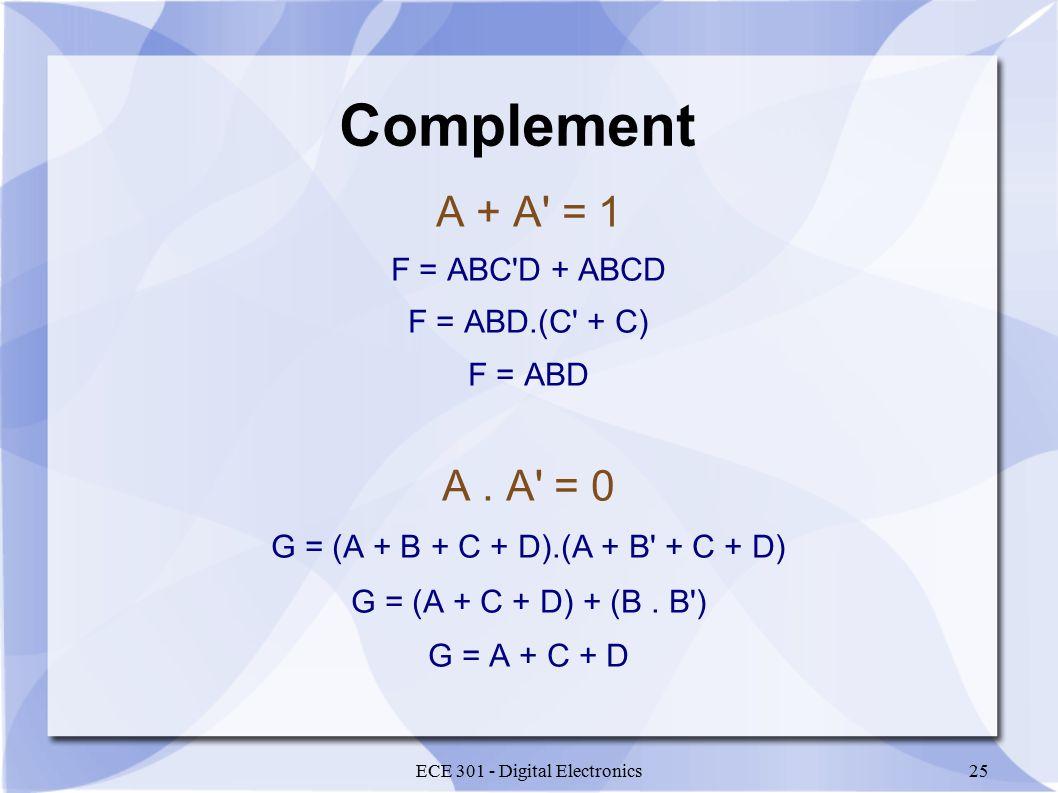 ECE 301 - Digital Electronics25 Complement A + A = 1 F = ABC D + ABCD F = ABD.(C + C) F = ABD A.