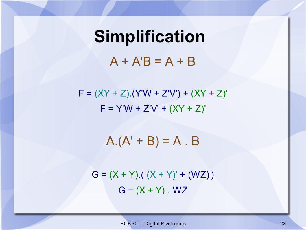 ECE 301 - Digital Electronics28 Simplification A + A B = A + B F = (XY + Z).(Y W + Z V ) + (XY + Z) F = Y W + Z V + (XY + Z) A.(A + B) = A.