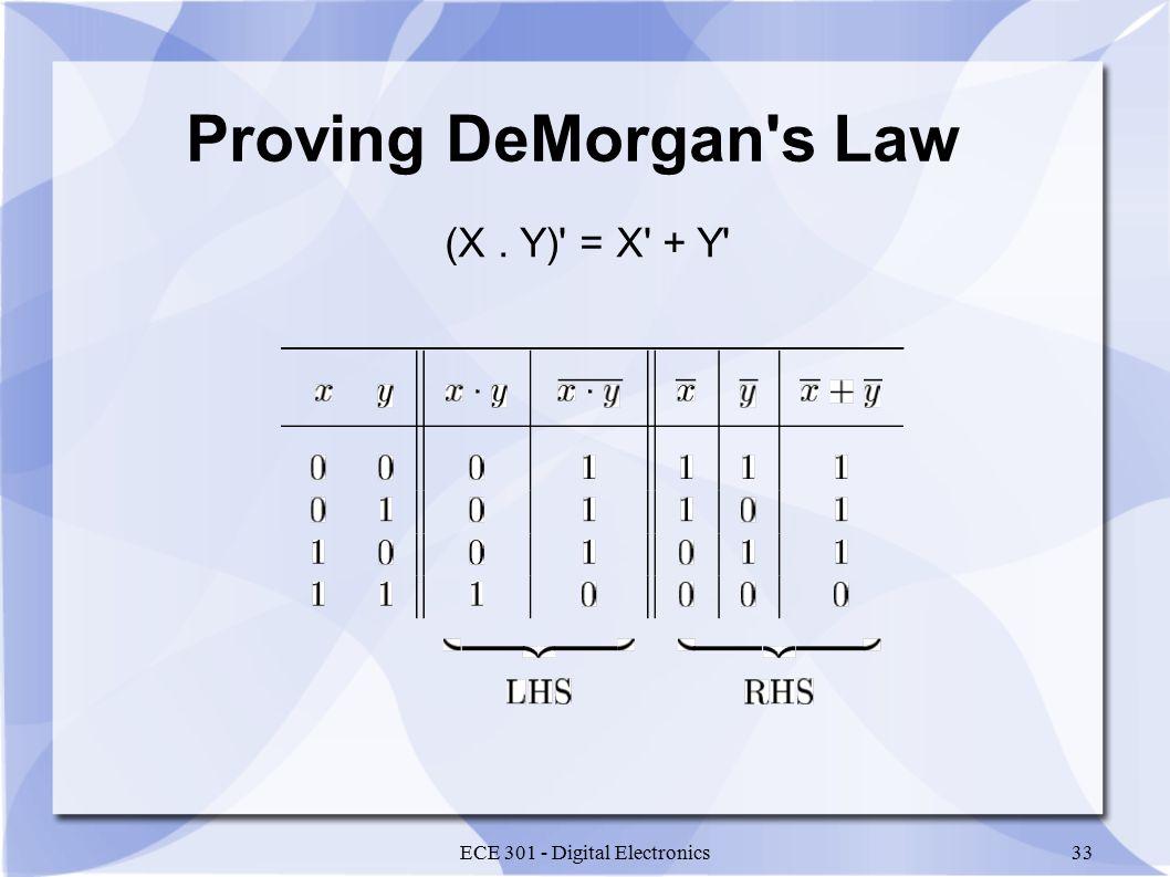 ECE 301 - Digital Electronics33 Proving DeMorgan s Law (X. Y) = X + Y
