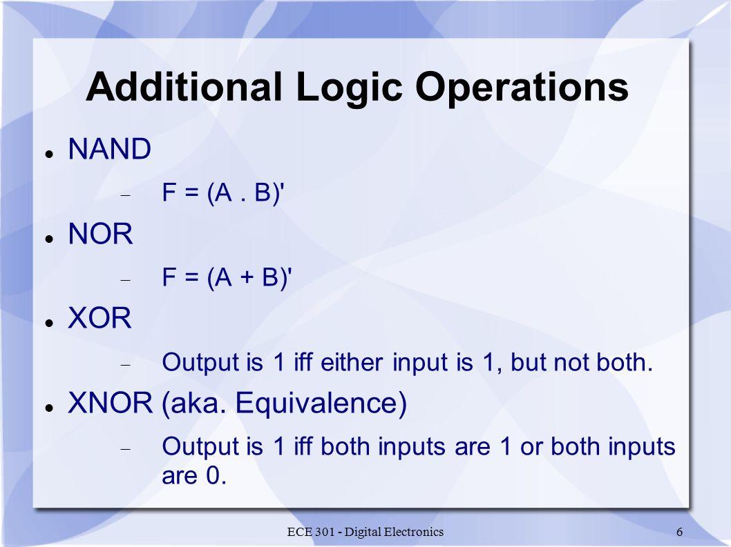 ECE 301 - Digital Electronics6 Additional Logic Operations NAND  F = (A.