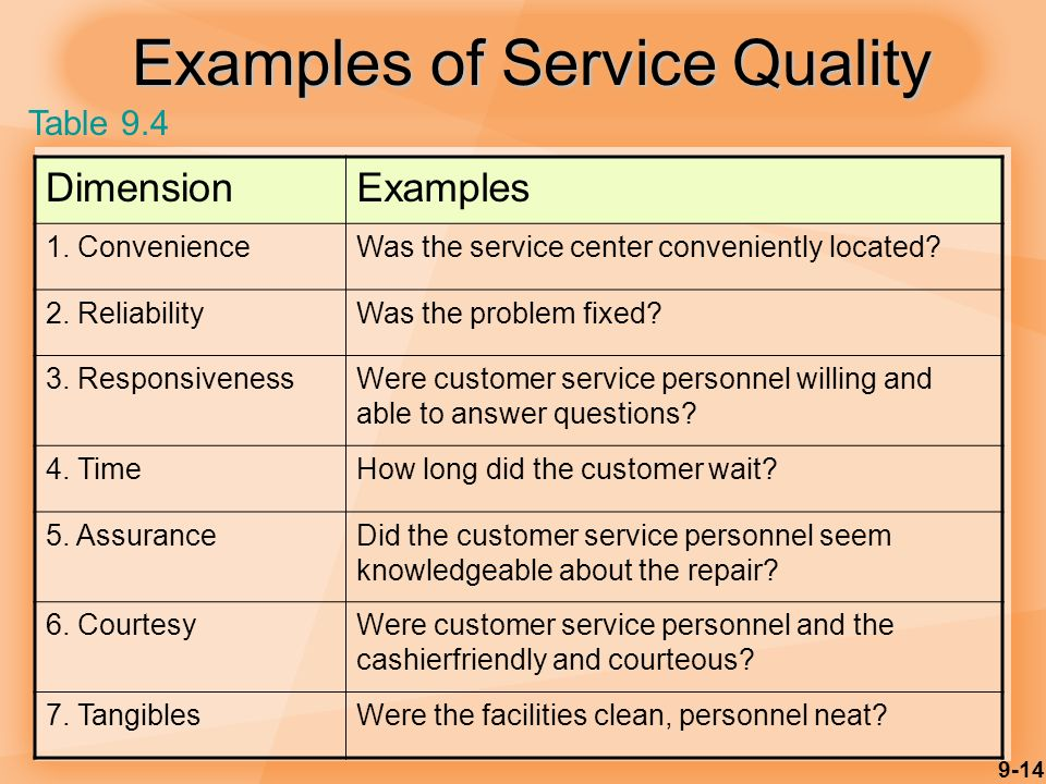 9-14 Examples of Service Quality DimensionExamples 1.