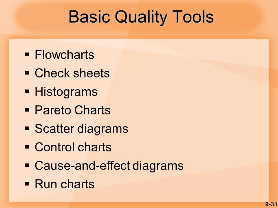 9-31 Basic Quality Tools  Flowcharts  Check sheets  Histograms  Pareto Charts  Scatter diagrams  Control charts  Cause-and-effect diagrams  Run charts