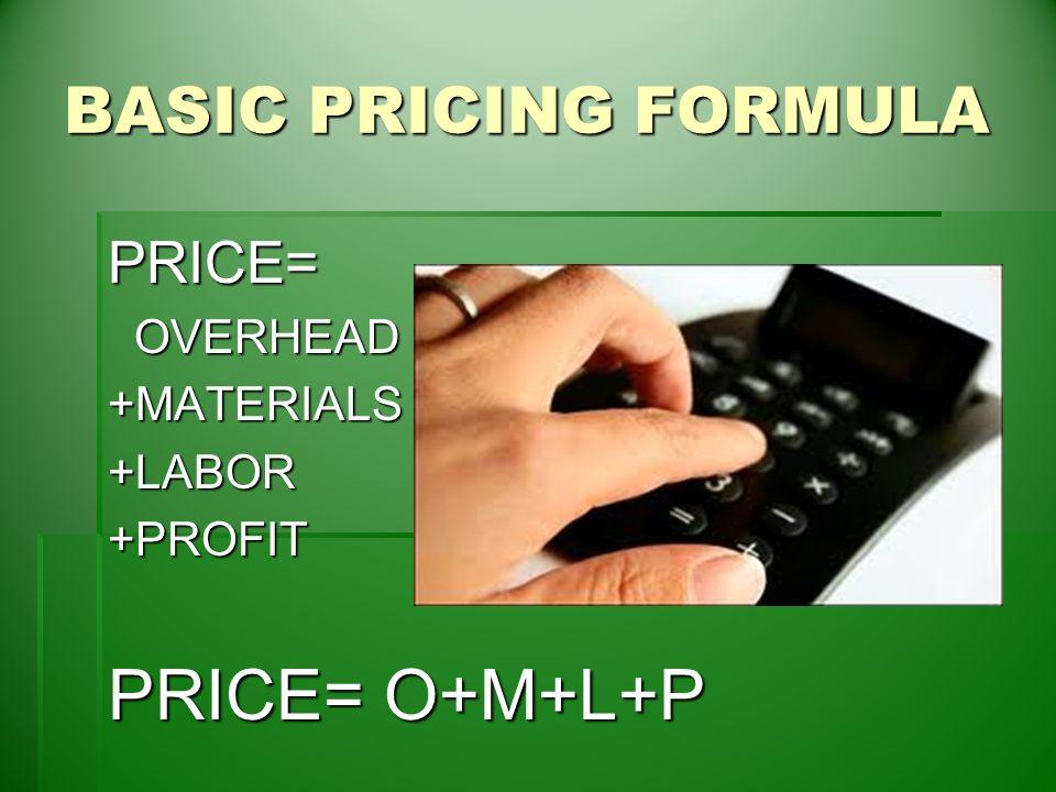 Pricing events keys to maximizing profit basic pricing formula 2 basic pricing formula price overhead overheadmaterialslaborprofit price omlp sciox Gallery