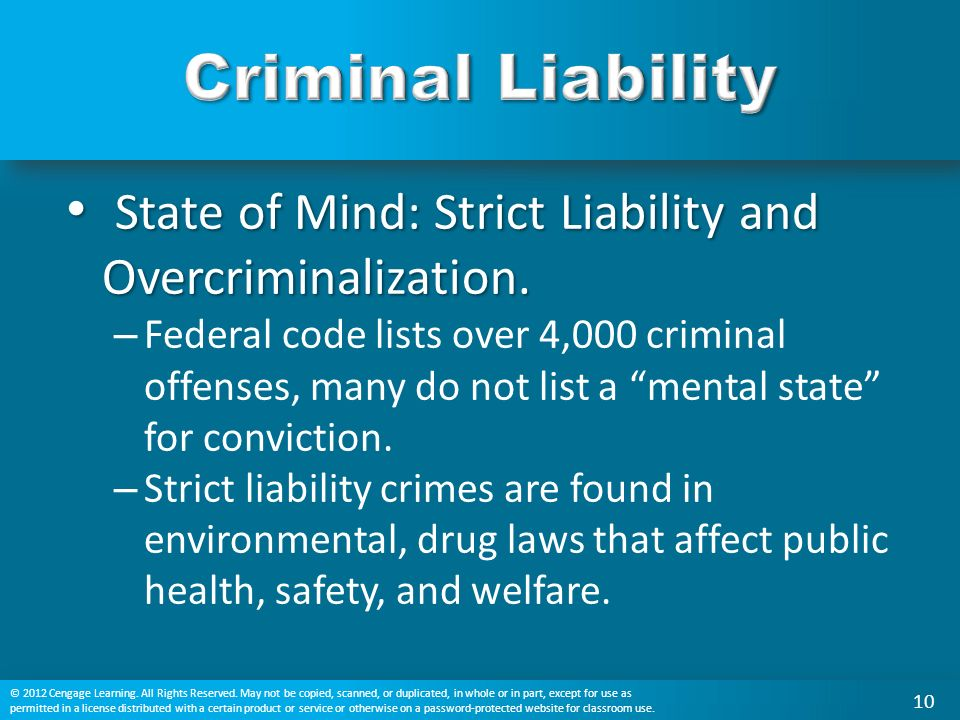 State of Mind: Strict Liability and Overcriminalization.