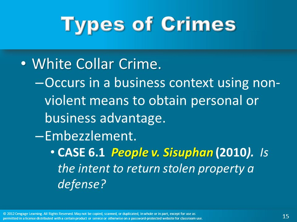 White Collar Crime. White Collar Crime.