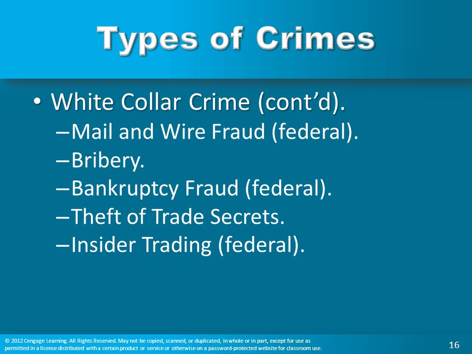 White Collar Crime (cont'd). White Collar Crime (cont'd).