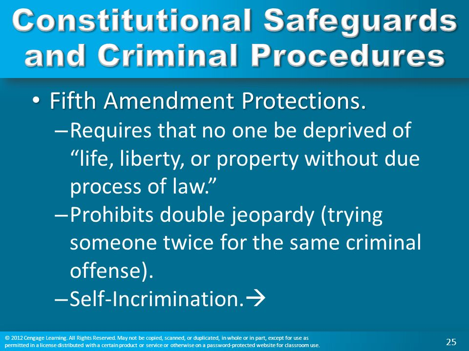 Fifth Amendment Protections. Fifth Amendment Protections.