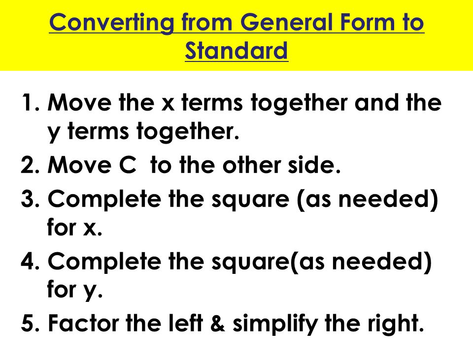 1.5 – Circles (Lesson Objectives) Write the standard form of the ...
