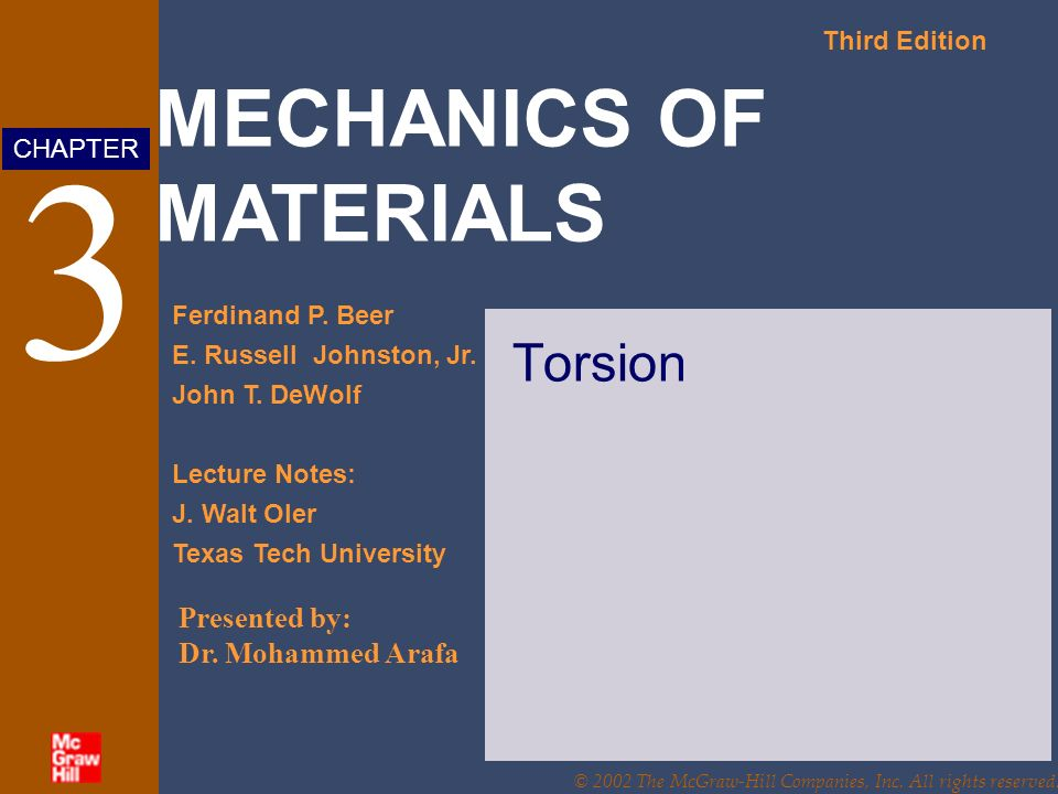 MECHANICS OF MATERIALS Third Edition Ferdinand P. Beer E.